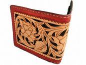 本革フルカービング二つ折りレディース財布
