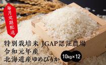 【定期配送】特別栽培米JGAP認証農場 令和元年産北海道産ゆめぴりか 10kg×12回