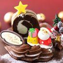 北海道・新ひだか町のクリスマスケーキ『ロールノセタ』懐かしい昭和レトロ6号サイズのチョコレートケーキ【お届け予定:12/20~12/24】冷凍発送
