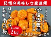 紀州南高梅はちみつ味2kgと湯浅醤油2本