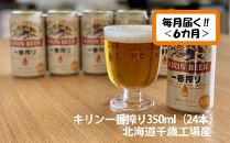 【ビール定期便6ヶ月】キリン一番搾り350ml(24本)北海道千歳工場