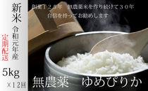 【定期配送】無農薬米ゆめぴりか(白米5kg)×12回