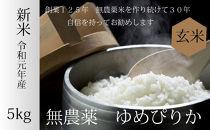 【農家直送】無農薬米ゆめぴりか玄米5kg