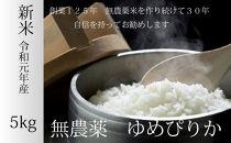 【農家直送】無農薬米ゆめぴりか白米5kg