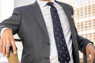 【受注生産】匠の技術で織り上げるシルク100%のサテン小紋ネクタイ(ダークネイビー)