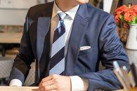 【受注生産】匠の技術で織り上げるシルク100%の2段ストライプネクタイ(ネイビー×サックス)