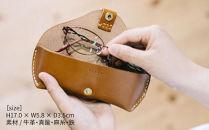 ナチュラルな革のメガネケースDURAM9003:LightBrown