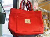 三つ編みの持ち手と猫ロゴが可愛いプチトート 赤[尾道帆布鞄彩工房]