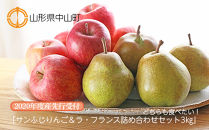 【2021年度産先行受付】どちらも食べたい!「サンふじりんご&ラ・フランス詰め合わせセット3㎏」