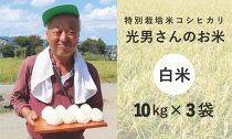 ◆特別栽培米コシヒカリ光男さんのお米白米10kg×3袋