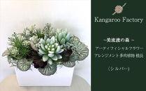 【ギフト用】美流渡の森アーティフィシャルフラワー・アレンジメント多肉植物横長アレンジメント(シルバー)