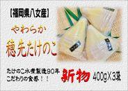 【2020年5月配送予約限定】福岡県八女産 新物 やわらか穂先たけのこ 400g×3袋