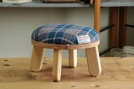 【HARRISTWEED】まぁるいスツール子供椅子イスキッズ【N/ブルー×ホワイト】