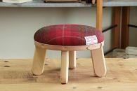 【HARRISTWEED】タータンチェックまぁるいスツール子供椅子イスキッズ【N/レッド】