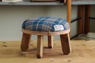 【HARRISTWEED】まぁるいスツール子供椅子イスキッズ【BR/ブルー×ホワイト】