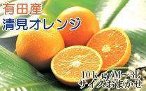 [厳選]有田産清見オレンジ約10kg(サイズおまかせ・秀品)