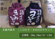 【定期便】京都丹波米こしひかり・きぬひかりセット定期便(10㎏(5kg×2)×3回)令和元年産米※北海道・沖縄・離島への配送不可