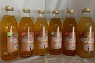 100%リンゴだけで作ったリンゴジュース飲み比べ6本セット(王林・ジョナゴールド・サンふじ各2本ずつ)