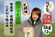【2020年度産】定期便5kg(12回、60kg)低農薬極上米『ハナエチゼン』
