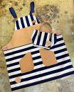 牛ヌメ革+8号帆布使用エプロン&ミニトートバッグセットネイビー×ホワイト