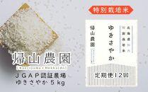 EE009《帰山農園》特別栽培米産地直送「ゆきさやか5kg」12カ月定期便【37800pt】