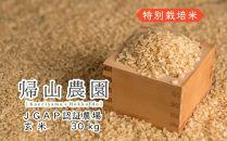EE011《帰山農園》特別栽培米産地直送「ゆめぴりか玄米30kg(10Kg×3)」【18000pt】