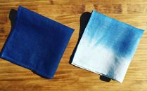 AI001 室戸オーガニック藍で染めた100%リネンハンカチ2枚セット