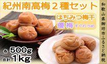 紀州南高梅はちみつ梅500g・優梅500g食べ比べセット