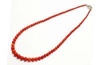 KN012 赤サンゴ丸玉 ネックレス(ケース付)