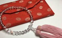 KN017 水晶とピンク珊瑚の数珠