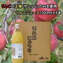 大北産サンふじ100%使用りんごジュース1000ml×6本
