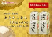 【頒布会】秋田市雄和産あきたこまち清流米半年分(20㎏×6か月)