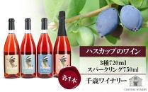 ハスカップのワイン3種720ml×各1本+ハスカップスパークリング750ml×1本