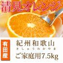 ■【ご家庭用】紀州有田産清見オレンジ7.5kg
