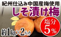 紀州仕込み(中国産梅)しそ漬け塩分5%(1kg×2パック)【白浜グルメ市場】