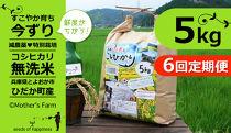 【今ずり・無洗米】兵庫県但馬産コシヒカリ(白米)【5kgx6回(毎月)定期便】