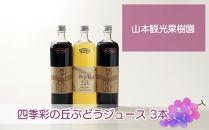 四季彩の丘ぶどうジュース3本セット【山本観光果樹園】