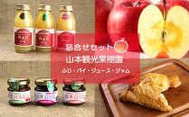フルーツ王国余市産「ふじ」とジュース、⾃家製アップルパイ、ジャムの豪華詰合せ【⼭本観光果樹園】
