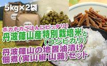 丹波篠山の地醤油漬、佃煮セット 特別栽培米5kg×2と実山椒・山蕗