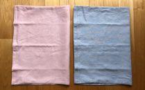 麻で作った枕カバー(ピンク/ブルーの2枚セット)