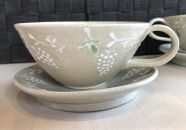 【陶器】ティーカップ&ソーサー ぶどう ペア