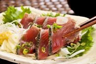 黄金藁焼き一本釣り戻り鰹タタキ1kgと藻塩(5パック)のセット