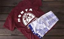 ゆるキャラ紋太グッズ(Tシャツ[バーガンディーXL]、タオル[ブルー])