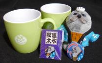 ゆるキャラ紋太グッズ(マグカップ[グリーン]、ぬいぐるみ小、缶バッジ、ピンバッジ)
