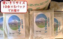 <令和元年産>つがるのお米「つがるロマン」精米したて、新鮮小分けパック10合入×5パック 試食用3合×1パック