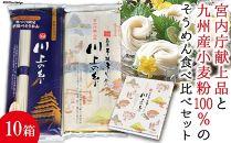 【川上製麺】島原手延べそうめん2種詰合せ×10箱/宮内庁献上品・九州産小麦粉