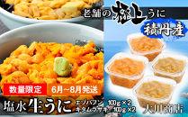 数量限定紅白セット!大満足のバフンウニ・ムラサキウニ各2パック!【大川商店】