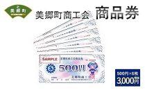 美郷町商工会商品券(500円×6枚)3,000円相当 地域お買い物券