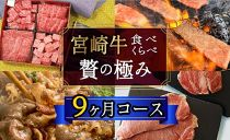 宮崎牛食べ比べ贅の極み9ヶ月コース合計5.48kg【定期便】