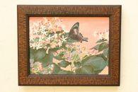 日本画「草木と揚羽」